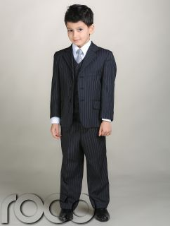 Boys Navy Pinstripe Wedding Pageboy Suits 1YR 13yrs