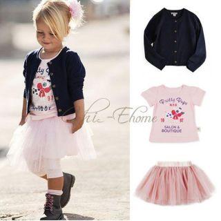 Girl Baby T Shirt Cardigan Tutu Dress Skirt Kids 3pc Costume Sets Outfits Sz 1 5