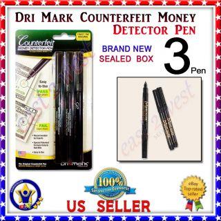 Dri Mark Smart Money Counterfeit Bill Detector Pen Brand New 3 Pack