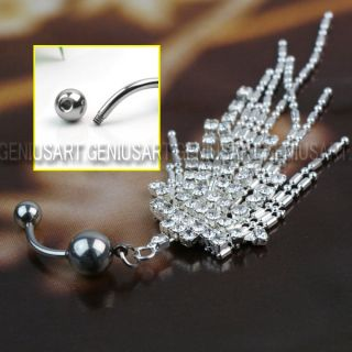 316L Surgical Steel Chain Dangle Barbell Belly Navel Ring Bar Charm Dazzling Hot