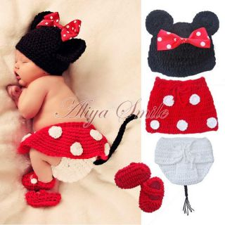 Cute Crochet Baby Cartoon Costume Infant Knit Photo Props Birthday Party Gift