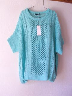 New $150 BCBG Aqua Opal Blue Boyfriend Crochet Knit Sweater Top 12 14 L XL Large