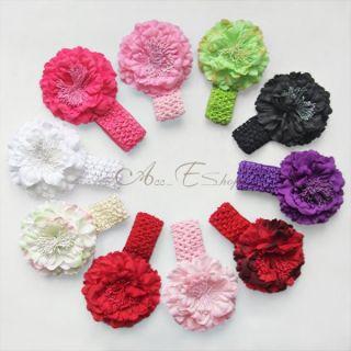 10pcs Peony Flower Headband Kid Baby Girl Hair Band Bow Accessory Clip Headwear