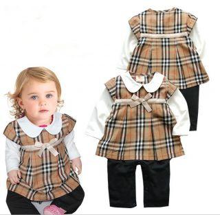 1pc Newborn Kids Baby Girl Plaids Romper Dress Clothes Set Suit Brown Bowknot