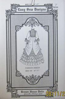 "Brown House Dolls Easy Sew Designs BHD 359 16 17"" Fashion Design Pattern"