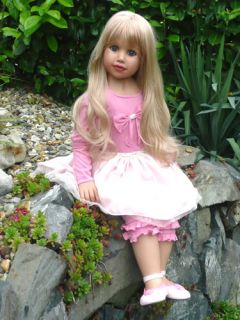 "New Natasha Monika Peter Leicht Masterpiece Doll 35"" Blonde Hair Blue Eyes"