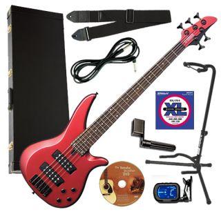 Yamaha RBX375 Red Metallic 5 String Electric Bass Guitar Complete Bass Bundle