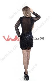 Sexy Black Women Gold Sequin Deep V Formal Gown Party Evening Dress Clubwear