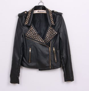 New Womens European Fashion Punk Motorcycle Rivet Leather Coat Jacket Black B359