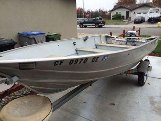 1977 Gregor H 34 13' Aluminum Boat w 15 HP Evinrude Outboard Motor Trailer