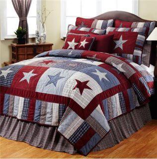 Blue Red Star Twin Bedding Set Quilt Sham Bedskirt 3 PC