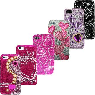 Apple iPhone 4 4G 4S Diamond Bling Rhinestone Case Cover Hearts Screen Guard