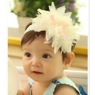 Cute Baby Girl Lace Flower Hair Band Headband Soft Elastic Headdress Headwear