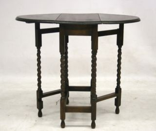 Antique Oak Table Gateleg Table Barley Twist Gate Leg Country RARE Drop Leaf