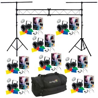 8 64 Black Combo Par Can Stage American DJ Lights Truss System Bag Package