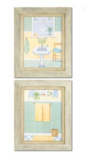 S 2 Bath Scenes Framed Wall Art Bathroom Home Decor Pictures Uttermost New