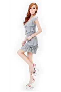 New Ladies Womens Chiffon Ruffle Tiered Layered Mini Skirt Dress 4 Colors