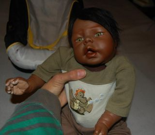 "Gorgeous Realistic Black AA Newborn Baby Boy 19"" 6 5 lbs Anatomically Correct"