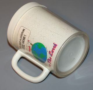 "Vintage Ziggy ThermoServ Collectible Plastic Mug Cup ""Save The Earth"" 1990"