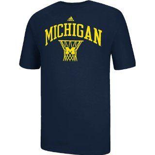 Michigan Wolverines Adidas Navy Courtside Basketball Short Sleeve T Shirt