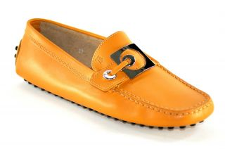 Tod's Women's Pellame Dark Orange Leather Driving Shoes Size 7 37 GBR907