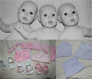 Lot Three 3 Vintage Hasbro Real Baby Dolls Reborn or Play Big Layette Wardrobe
