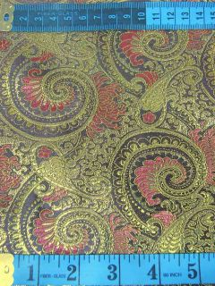 Chinese Brocade Fabric Material Gold Paisley on Black Upholstery by Yard