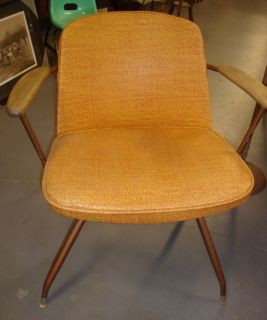 Viko 1960 Mid Century Mod Orange Brown Baumritter Swivel Atomic Chair Must L K