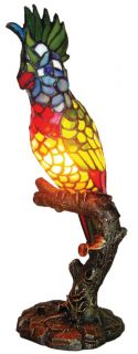 Parrot Stained Glass Vibran Accent Table Desk Lamp
