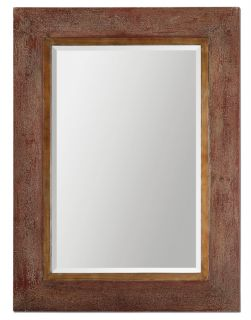 Large Distressed Rustic Red Wide Wood Frame Wall Mirror 47""