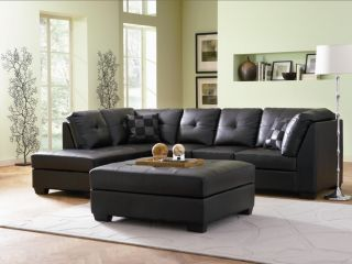 Darie Modern Black Leather Sectional Sofa Ottoman New