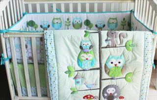 New 4pcs Baby Crib Cot Bed Bedding Set Quilt Bumper Sheet Dust Ruffle Owl