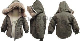 0 Age 3 5 Baby Boy Olive Green Coats Jacket Army Style Warm w Hoods Fur