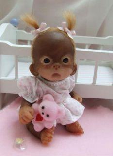 OOAK Baby Orangutan Sculpted Polymer Clay Art Doll Pose Able