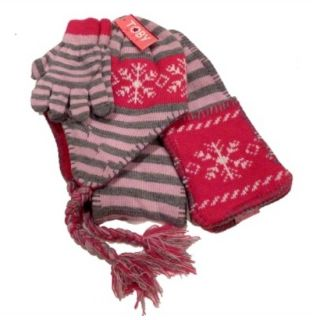 Girls Pink Gray Stripesscarf Hat Gloves Set Beanie