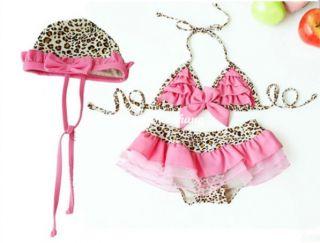3pcs Baby Girl Kid Toddler Swimsuit Bikini Swimwear Pink Leopard Tutu Clothes