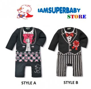 0 15M Unique Cartoon Style Baby Boy Girl Tuxedo Formal Day Romper Cotton