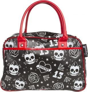Sourpuss Psycho Crush Rockabilly Skull Tattoo Flash Roses Cobwebs Bowler Purse