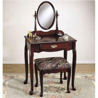 3 Pcs Heirloom Cherry Nostalgic Oak Vanity Adjustable Mirror Drawer Bench