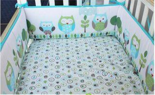 New 4pcs Baby Crib Cot Bedding Set Quilt Bumper Sheet Dust Ruffle