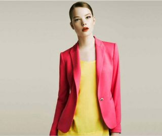 New Women's Candy Color Solid Slim Suit Blazer Coat Jacket Rose