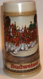 Budweiser Stein Anheuser Busch Clydesdale Horses Pulling Wagon Made in Brazil