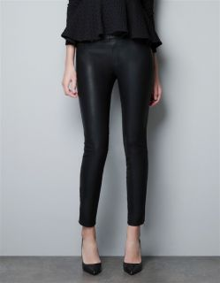 New Womens European Fashion Foot Zipper Faux Leather Pants Trousers Black B615