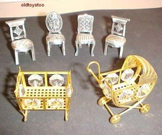 Doll House Baby Carriage Crib 4 Chairs All Metal