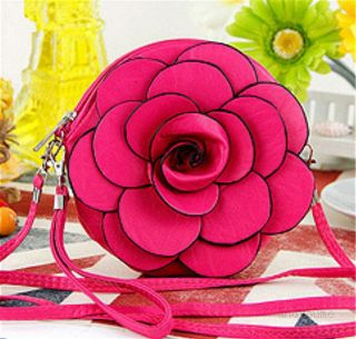 New Women Girl Rose Flower Wristlet Leather Purse Handbag Pouch Evening Coin Bag