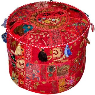 "Indian 18"" Red Ottoman Pouf Stool Chair Round Vtg Handcrafted Moroccan India Art"