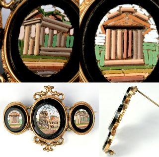 Antique Italian Micro Mosaic Brooch 3 Grand Tour Roman Ruin Plaque Micromosaic