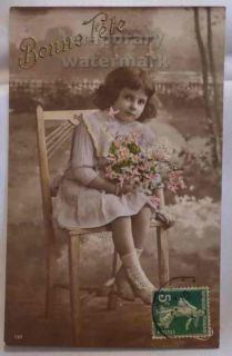 Little Girl on Chair Wishes Vintage Tinted Photo Postcard 1920 France Children