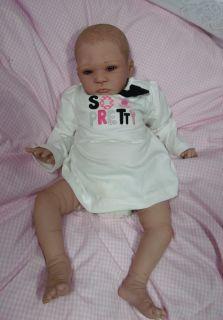 Sweet Pea OOAK Reborn Doll Newborn Baby Girl Painted Hair Bi Racial Ethnic