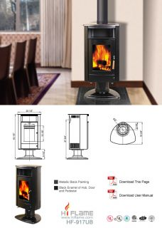 Wood Stove Glo Fire Ranger Small Non Catalytic Clean Burn Black Porcelain New